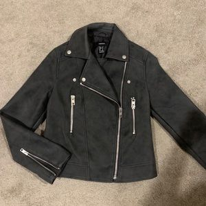 Faux Leather Charcoal Moto Jacket